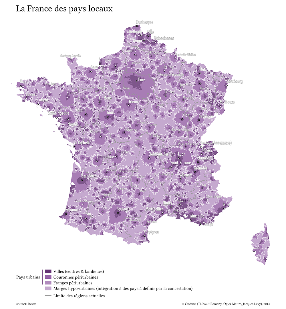 La France des pays locaux, carte euclidienne.