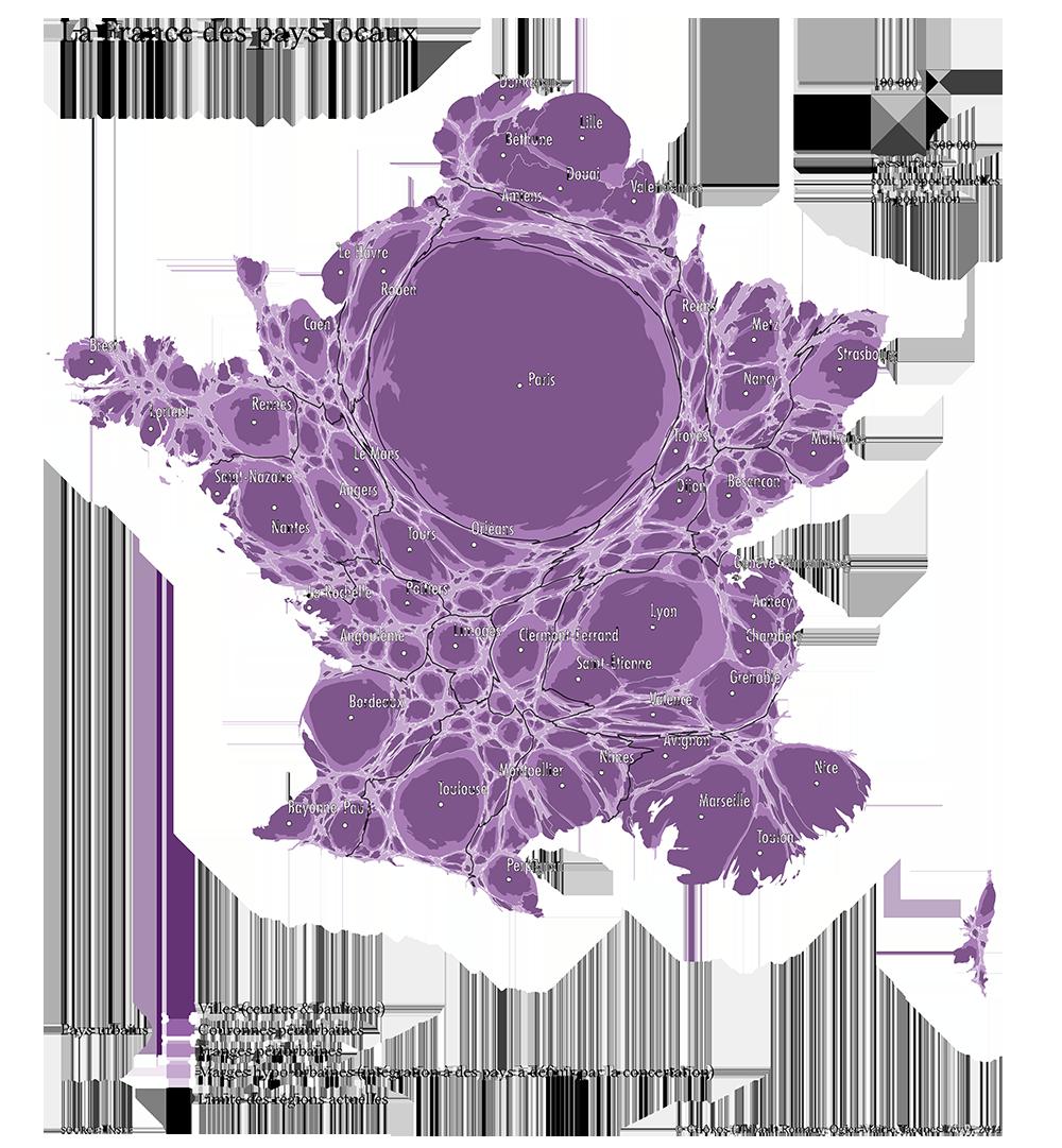 La France des pays locaux, cartogramme.