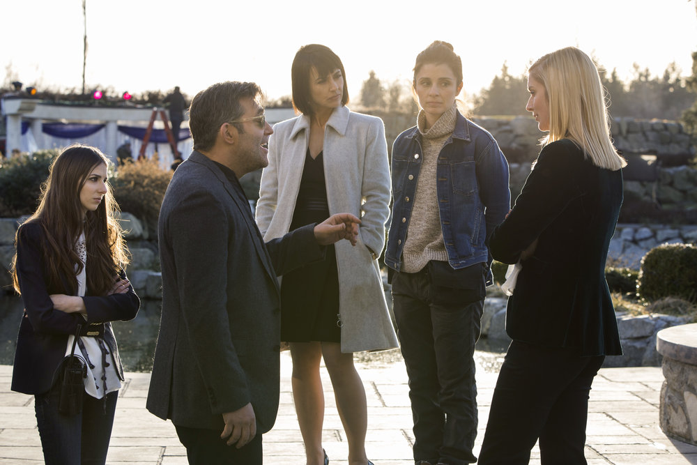 L to R) Craig Bierko, Constance Zimmer, Shiri Appleby and Caitlin FitzGerald star in Season 3 of Lifetime's hit drama UnREAL