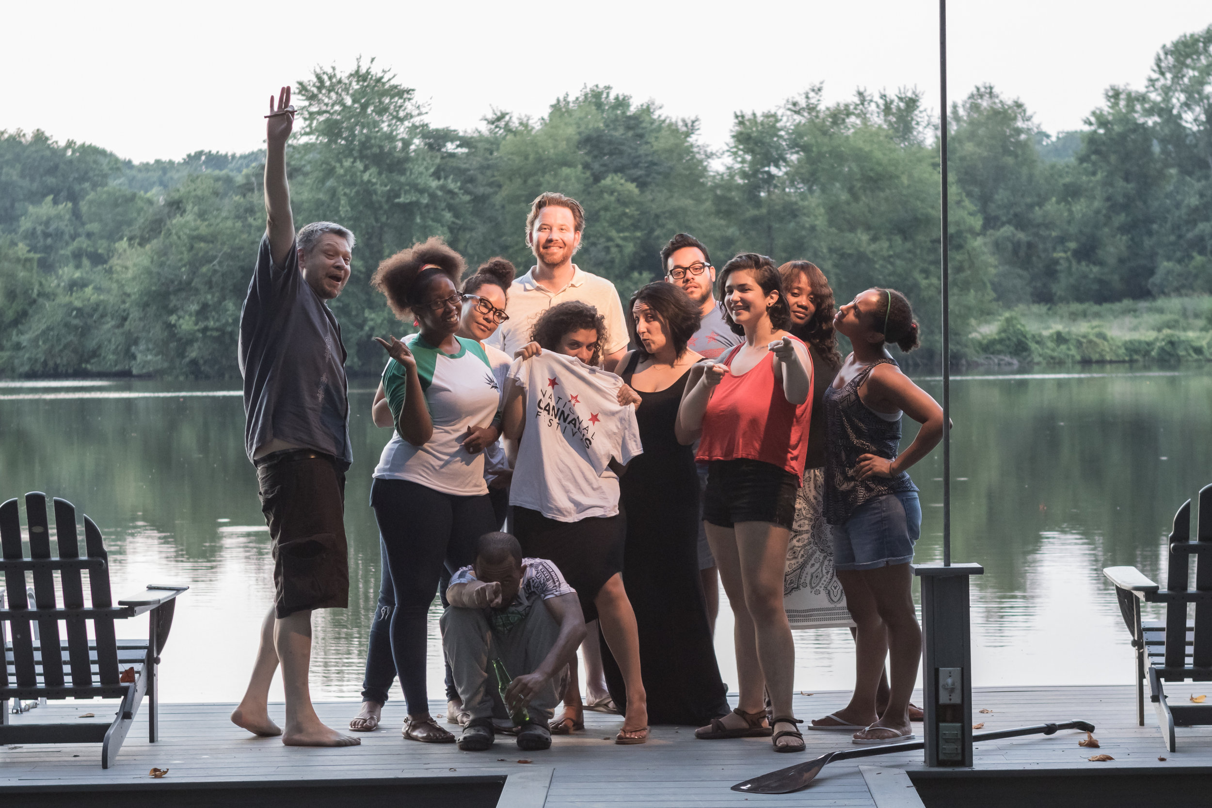 NCF Team Retreat, August, 2016. From left to right: Erik, Kalacey, Vanessa, Greg, Caroline (holding t-shirt), Nar, Erick, Laila, Nesha, Suey and Mouse (very front).