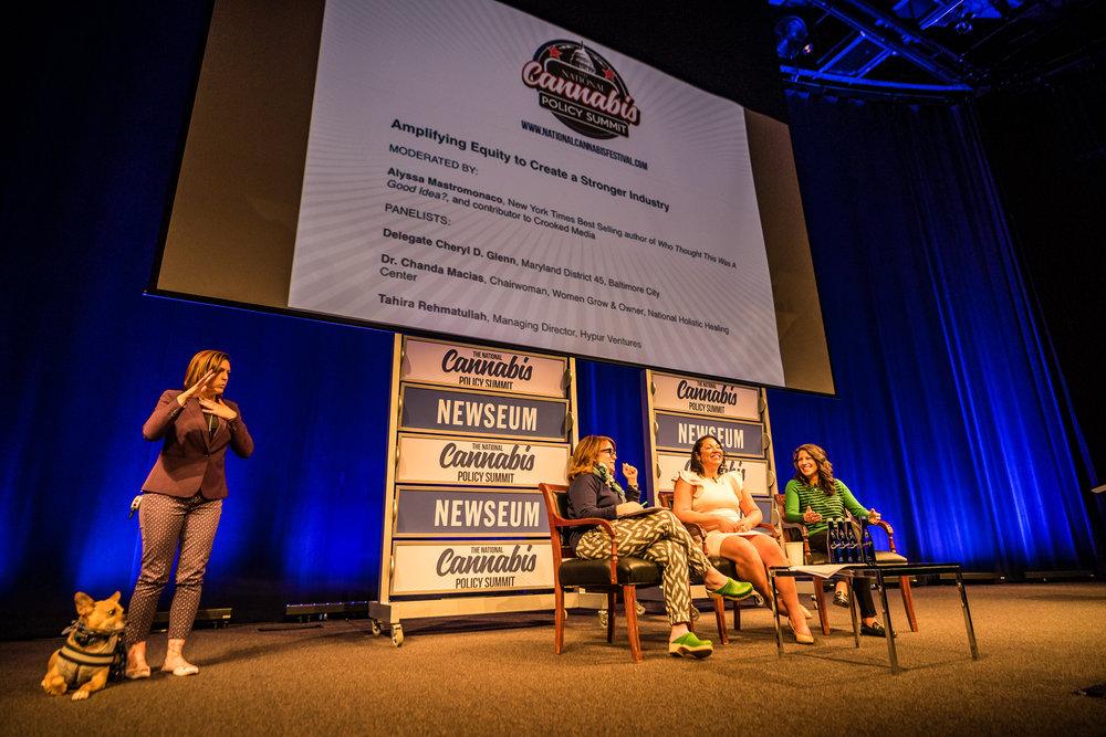 Alyssa Mastromonaco moderates a conversation featuring Dr. Chanda Macias (center) and Tahira Rehmatullah (Right) at the National Cannabis Policy Summit at The Newseum on April 20, 2018.