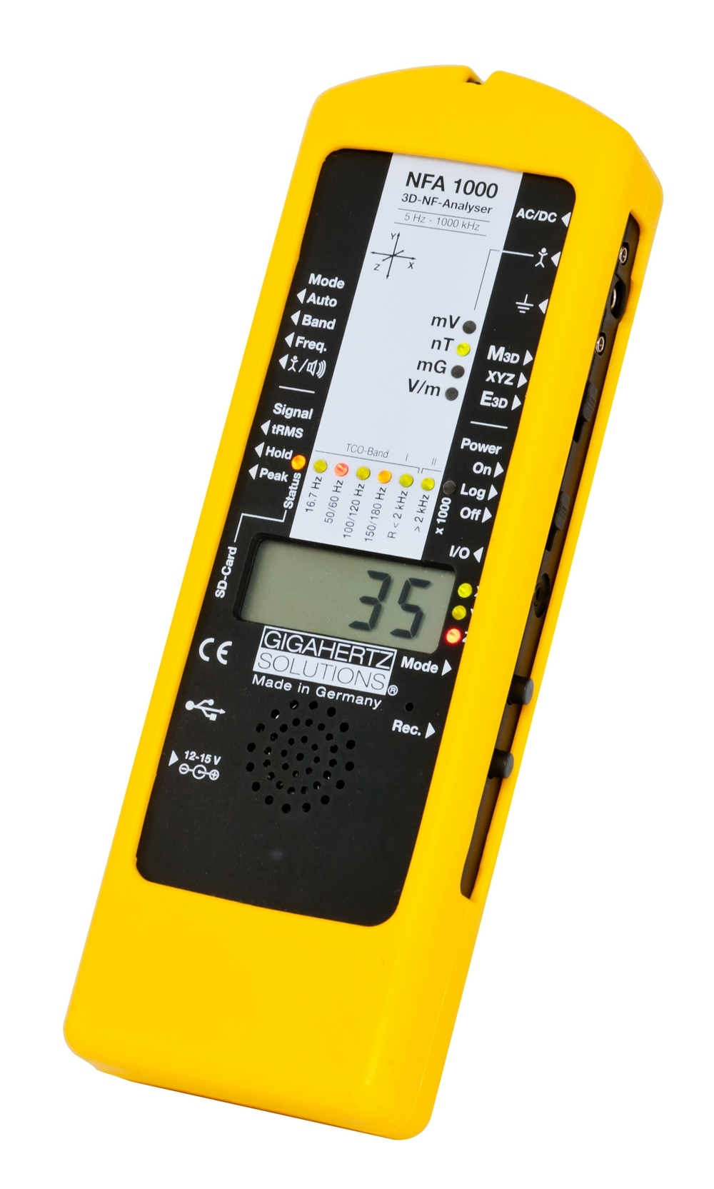 Just one of our professional EMF Analyzers, the Gigahertz Solutions NFA 1000 (Made in Germany) is our latest state-of-the-art certified-calibrated data logging / manually operated instrument for measuring AC magnetic fields (M),potential-free current electric fields (E), and Body Voltage. We are constantly updating our EMF training and equipment to maintain the highest standards of testing for your safety needs.