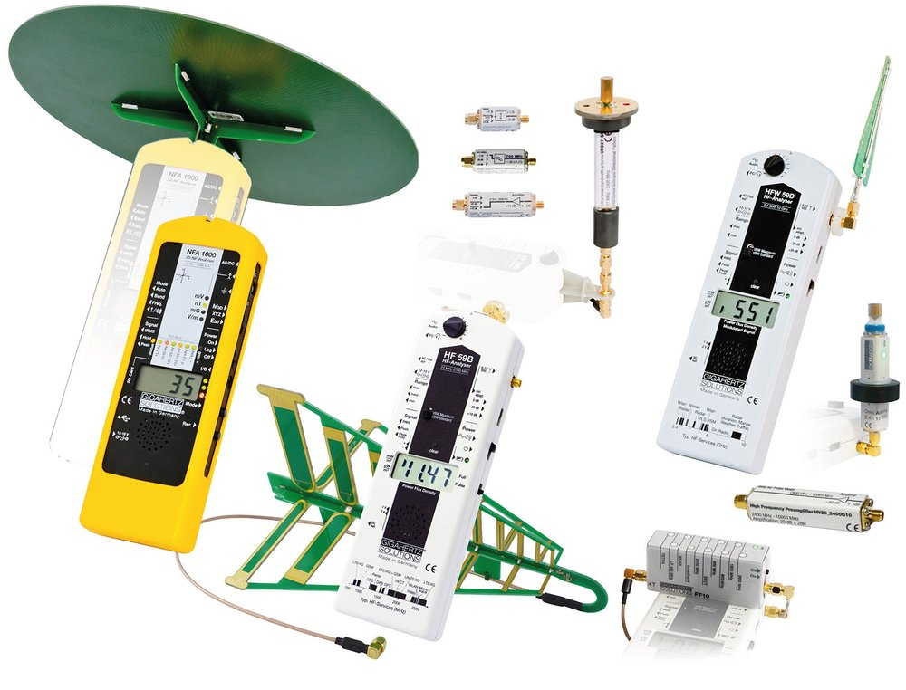 For our field testing, the Gigahertz Solutions MK70-3D Kit (NFA 1000, HF59B, and HF59D) is our preferred EMF test equipment. It is also preferred by all Building Biologists with EMRS training. This package is capable of data logging and manually operated recording of both unidirectional and isotropic omnidirectional RF signals and AC magnetic and electric fields mapping. Used for scientific and industrial purposes, these instruments capture every signal with precision. Insist on the correct information.