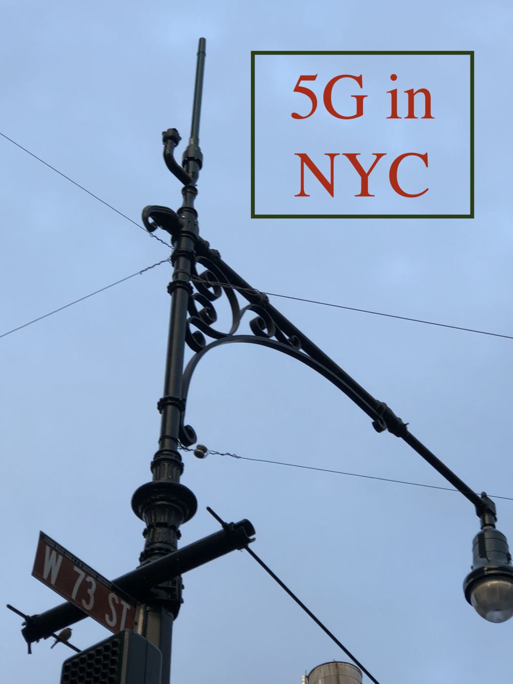 The antenna is at the top of this light pole on the corner of 73rd Street and Columbus Avenue. There are two of these antennas on the corner of 72nd and Columbus, one halfway between Columbus and Amsterdam @ 74th Street and one on the corner of 75th and Columbus. Photo © 2019