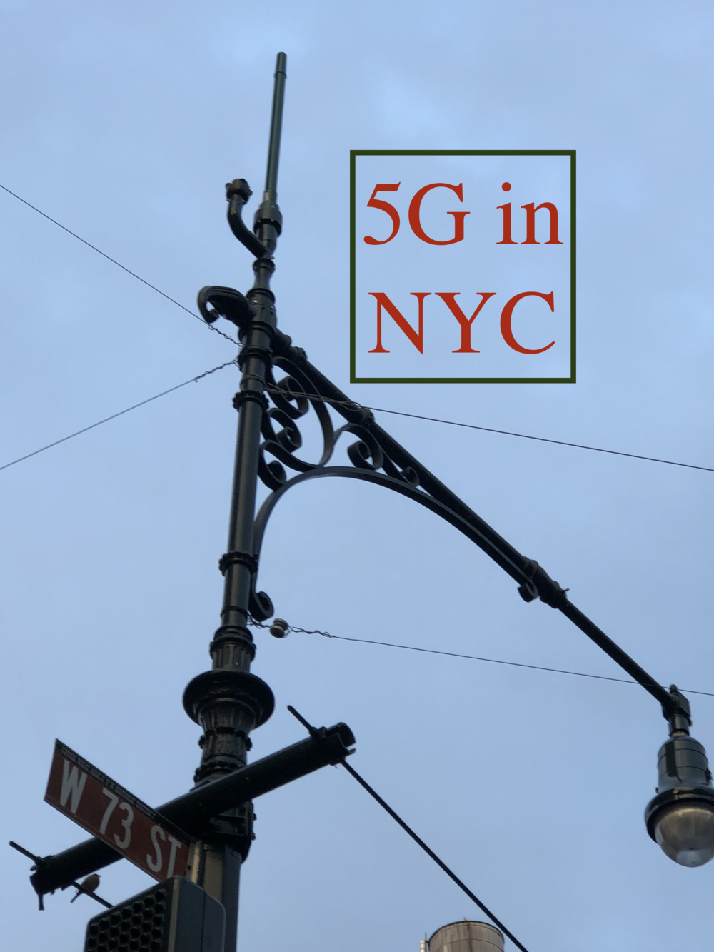 The antenna is at the top of this light pole on the corner of 73rd Street and Columbus Avenue. There are two more like this one on the next corner of 72nd and Columbus and there is another on 75th and Columbus. Photo © 2019