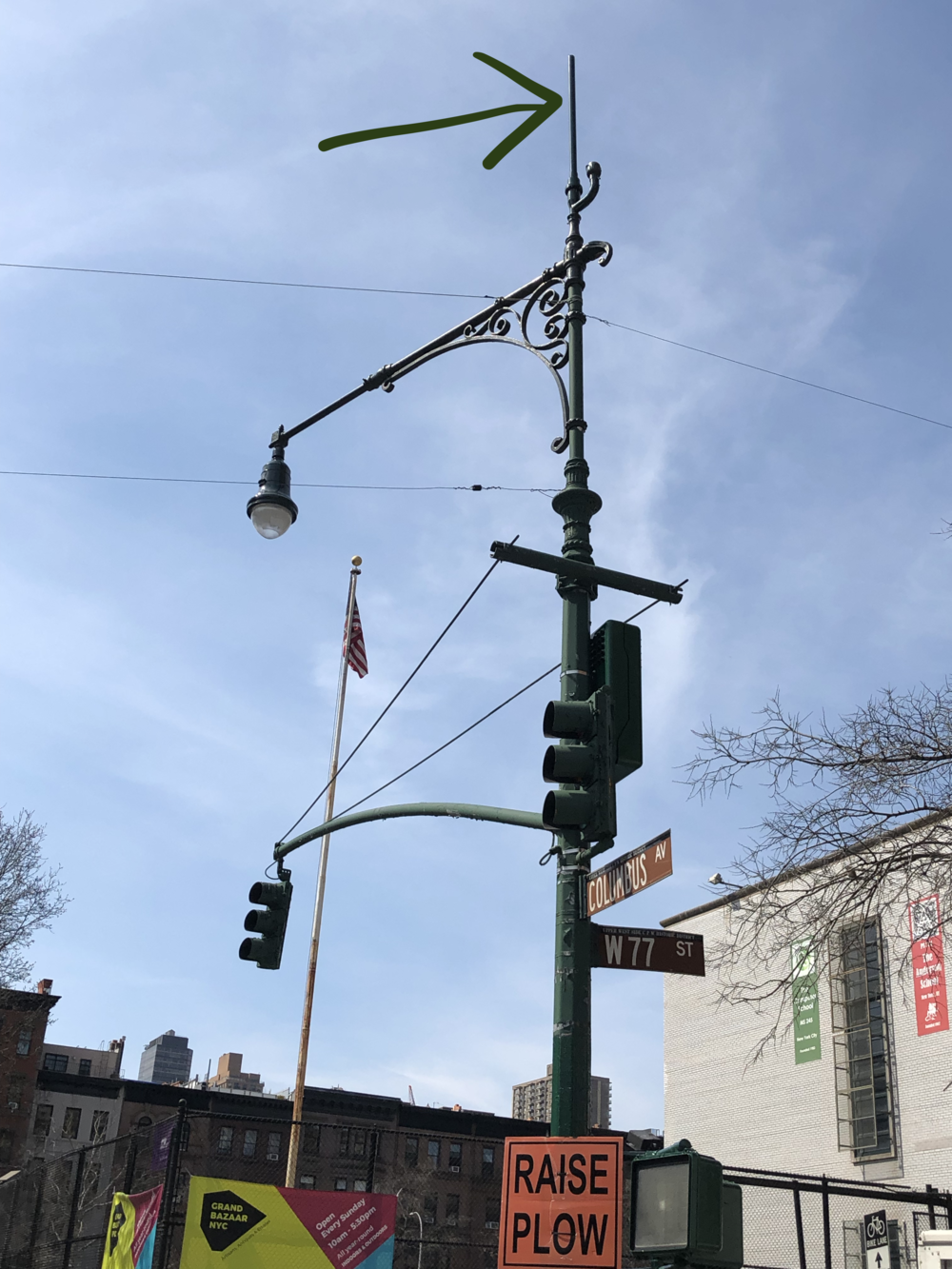 Here you can see the 5G antenna on top of the light pole emitting over an elementary and middle school playground on the upper west side of NYC, the American flag on the playground property, and the prestigious Anderson School and the Computer School to the right. Our young children are now the experiment.  It's time to revisit the Telecom Act of 1996.