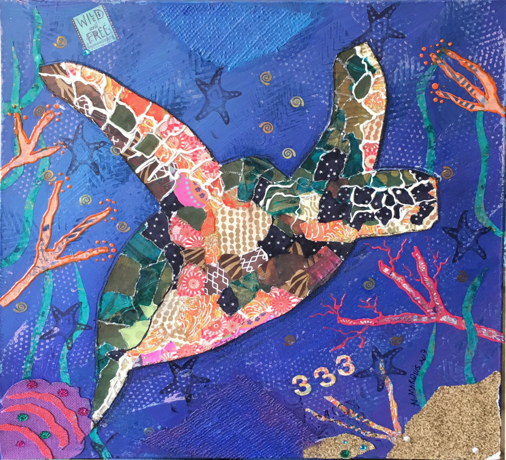 Sea Turtle Mixed Media by Natalie Eve Marquis, (c) 2017