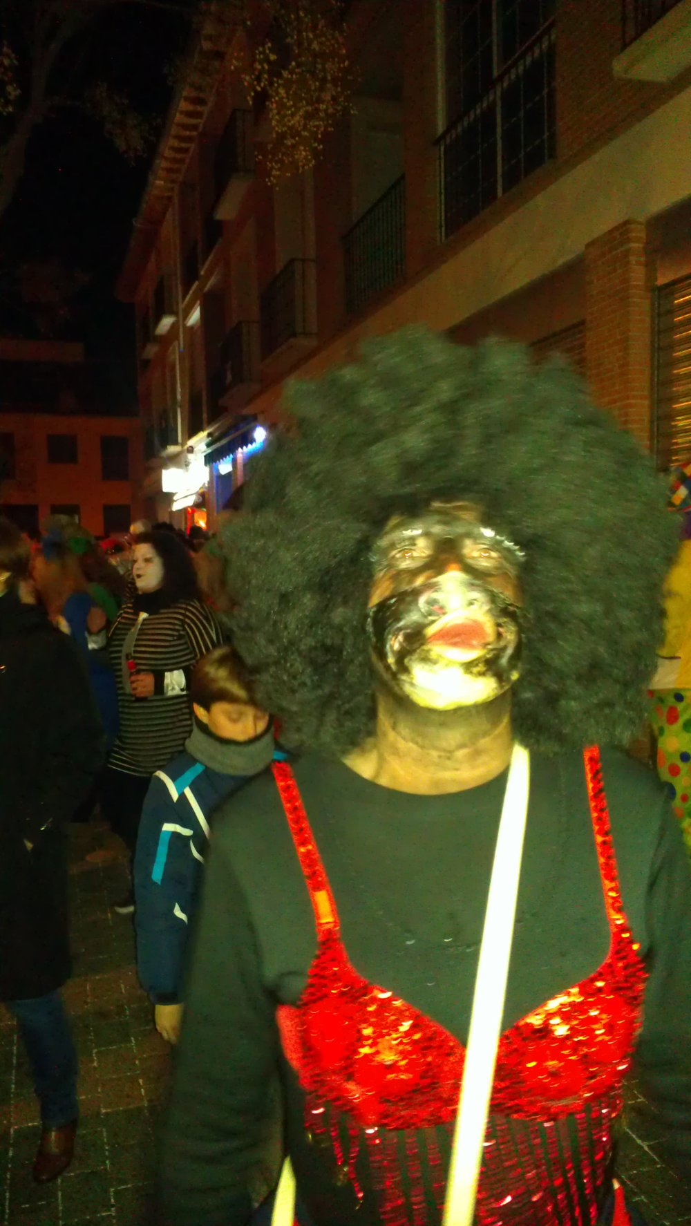 One of several 'blackfaced' Carnival goers seen in Spain