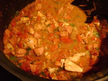 gumbo with tomatoes and meats