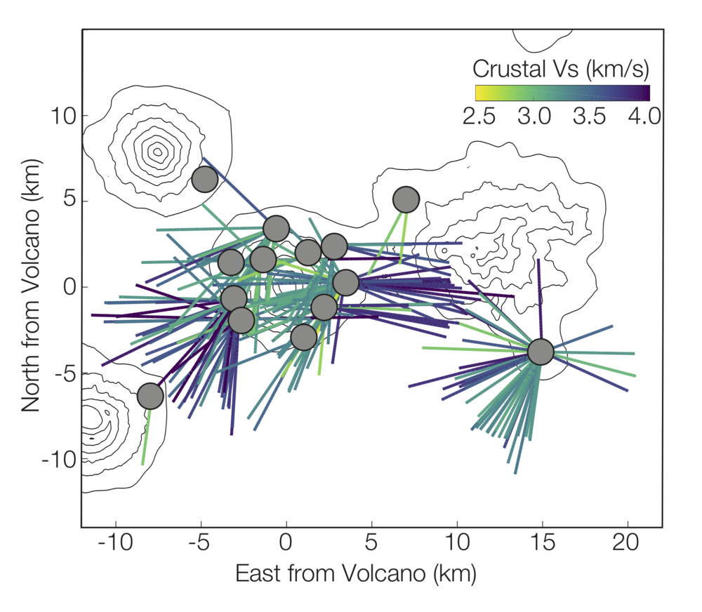 Variation in average crustal shear velocity beneath Cleveland Volcano.