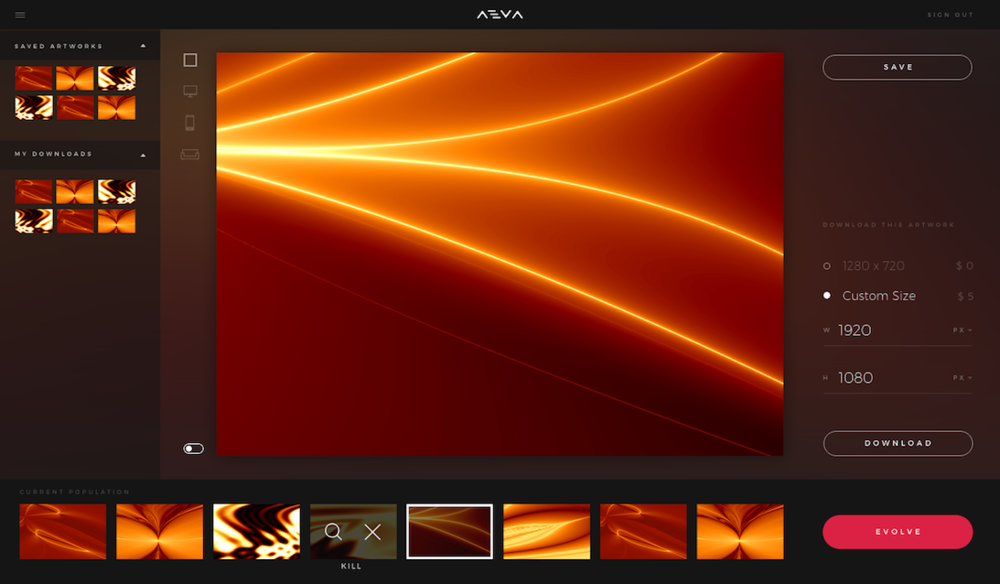 Meet Aeva. An AI that creates for you. Just choose what you like and it makes more like it.  -