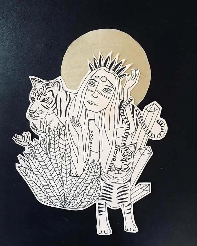 """My muse @srimati as her inner shaman self featuring white water tiger // I haven't drawn in months and man does it feels good. Art is one of the most therapeutic passtimes when I just slide into it and let it flow through. Each one of us is capable of connecting to an abundant well of creative freedom- the beauty is that there's no """"good"""" or """"bad"""" - everyone has their own unique style and flavor. I encourage you to just try- try a new art form and go into it with the intention to have fun and connect to your intuition; let go of the mental and mute the rational. If your art turns out silly- heck yeah, laugh with it and try again. Nothing is ever a fail, it's all part of the practice. ✌🏼 . . . . . . . . . . . #art #drawing #shaman #goddess #whitetiger #priestess #creativity #freedom #boho #creat #draw #makeart #muse #power #flow #intuition"""