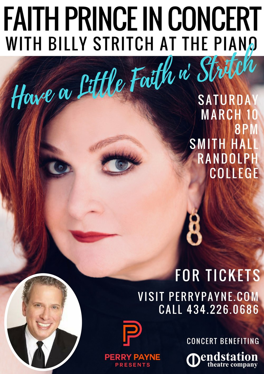 Faith Prince in ConcertHave a Little faith n' stritch  - 8PMSaturday March 10, 2018Smith Hall TheaterRandolph College