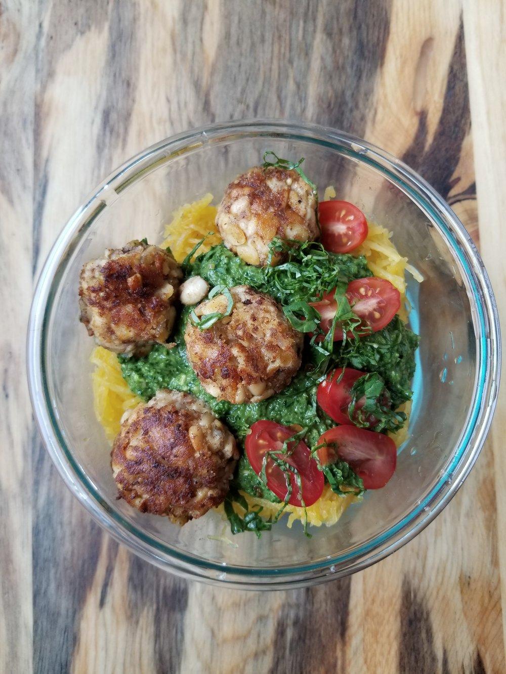 """Spaghetti squash pesto """"pasta"""" with white bean and tempeh """"meatballs"""""""