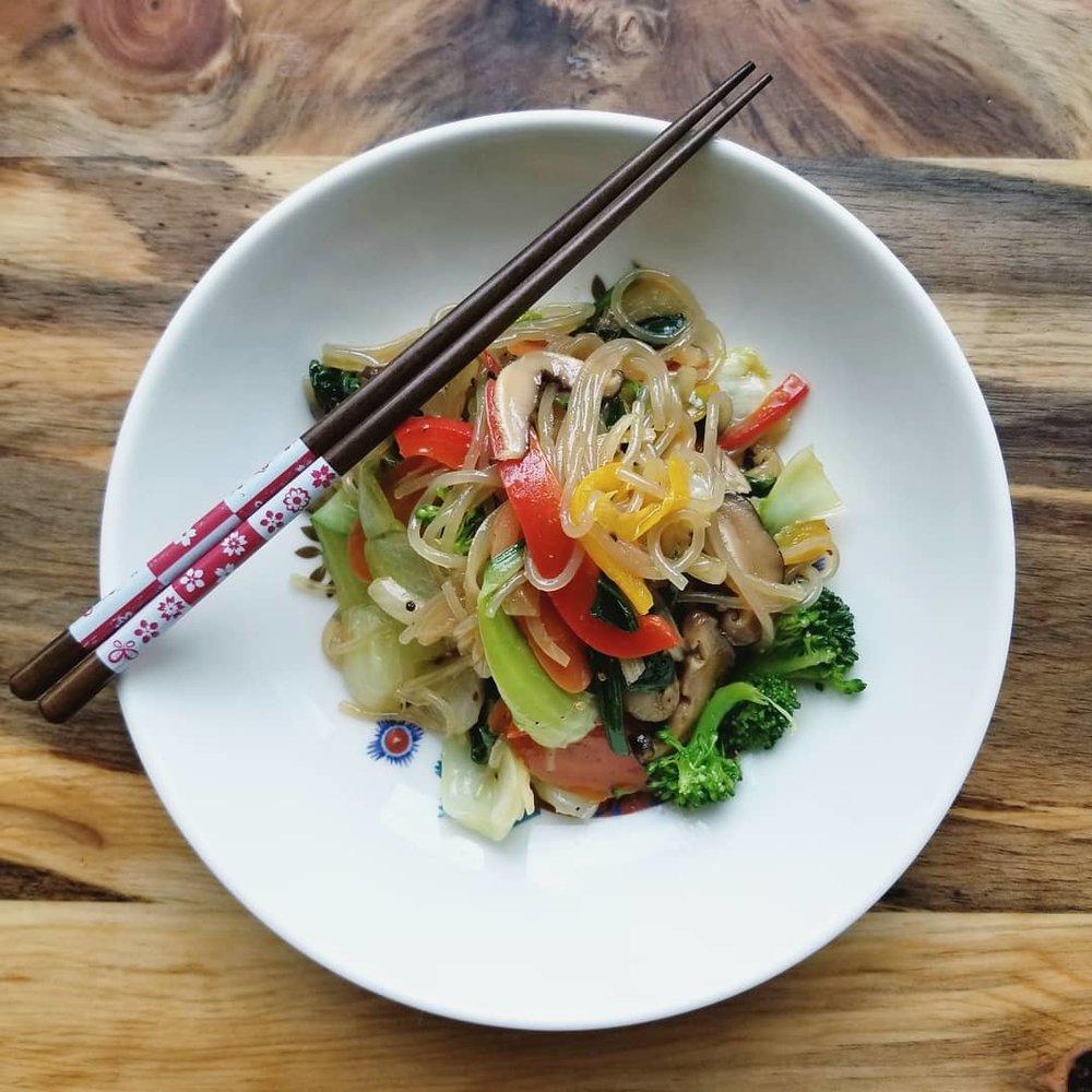Korean Jaapchae sweet potato noodles with rainbow vegetables