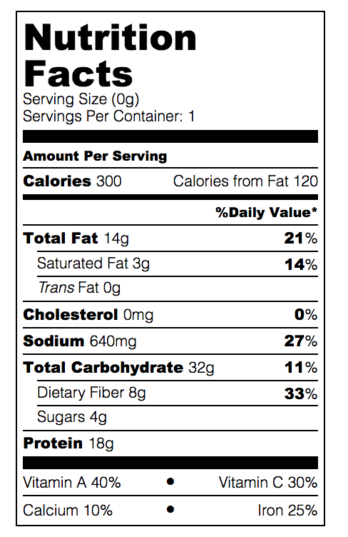 Pea and Tarragon Salad Nutrition Facts