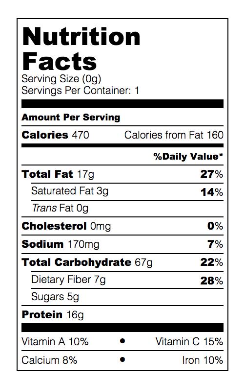 tempeh bun cha nutrition facts