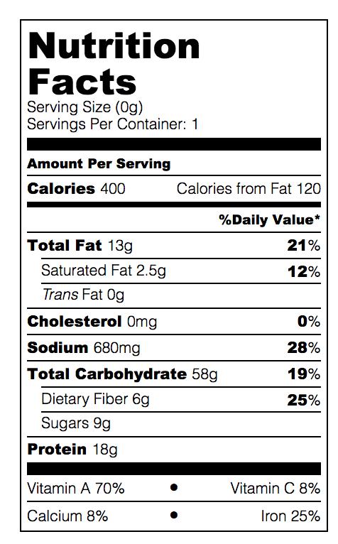 Dan dan noodle nutrition facts