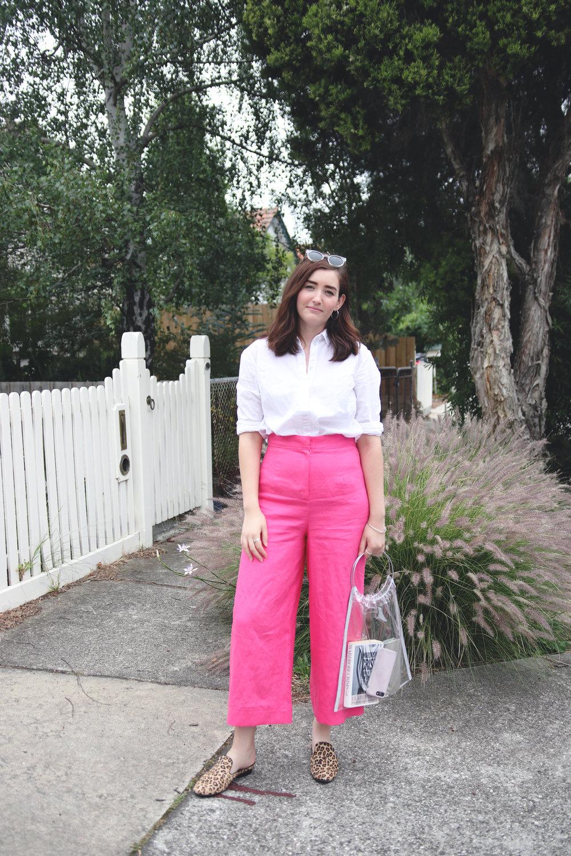 10pink memade linen pants wearethefabricstore kowtow shirt button up white shirt leopard print shoes.jpg
