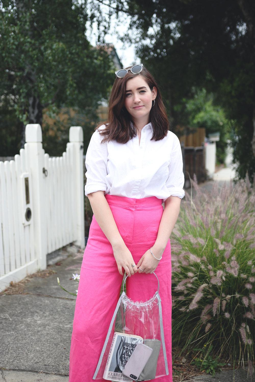 14pink memade linen pants wearethefabricstore kowtow shirt button up white shirt leopard print shoes.jpg
