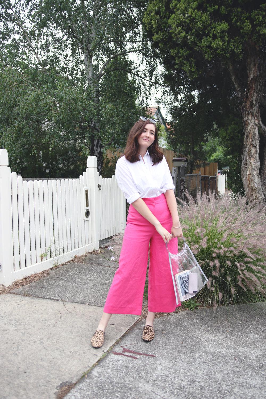 8pink memade linen pants wearethefabricstore kowtow shirt button up white shirt leopard print shoes.jpg