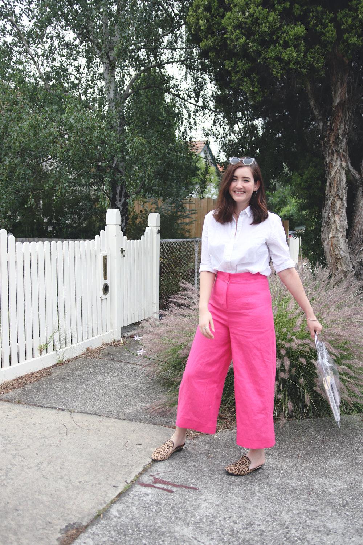 7pink memade linen pants wearethefabricstore kowtow shirt button up white shirt leopard print shoes.jpg