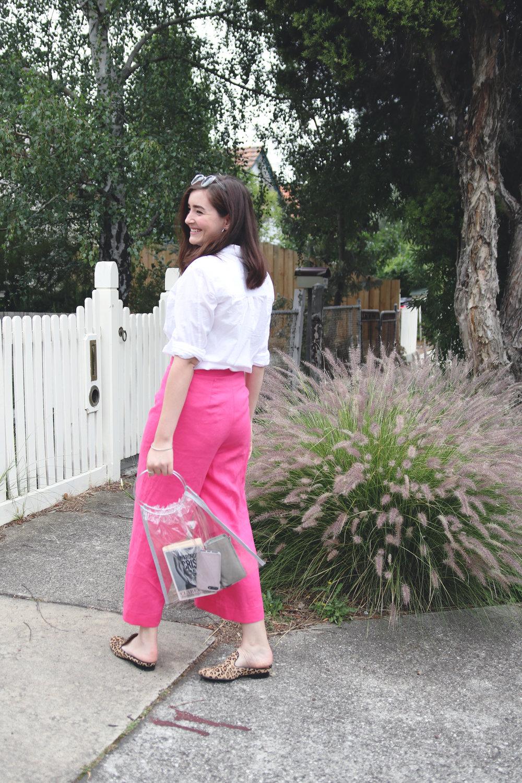 pink memade linen pants wearethefabricstore kowtow shirt button up white shirt leopard print shoes.jpg