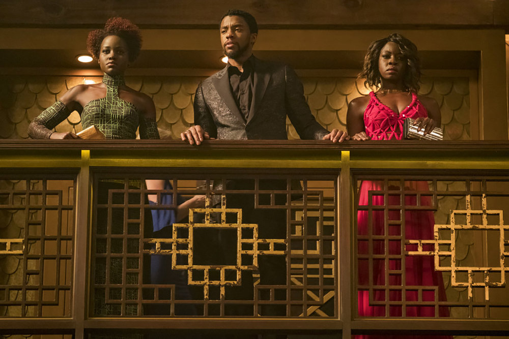"This image by Disney shows (from left) Lupita Nyong'o, Chadwick Boseman and Danai Gurira in a scene from ""Black Panther"" by Marvel Studios.  (Matt Kennedy / Marvel Studios-Disney vía AP)"