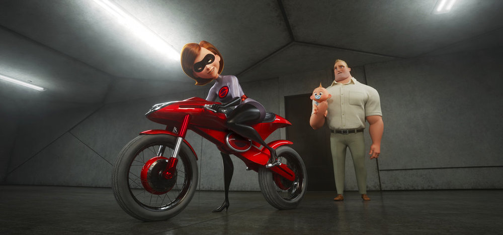 "This image released by Disney Pixar shows the character Helen / Elastigirl, with the voice of Holly Hunter, left, and Bob / Mr. Incredible, with the voice of Craig T. Nelson in ""Incredibles 2"". (Disney / Pixar via AP)"