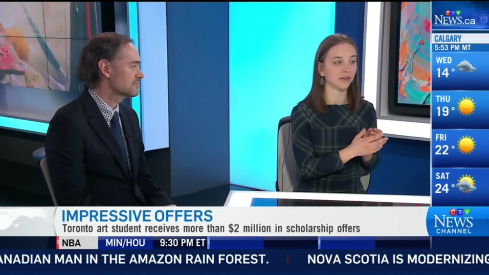 CTV News Channel Interview:    https://www.ctvnews.ca/canada/ont-art-student-receives-more-than-2m-in-scholarship-offers-1.3902888
