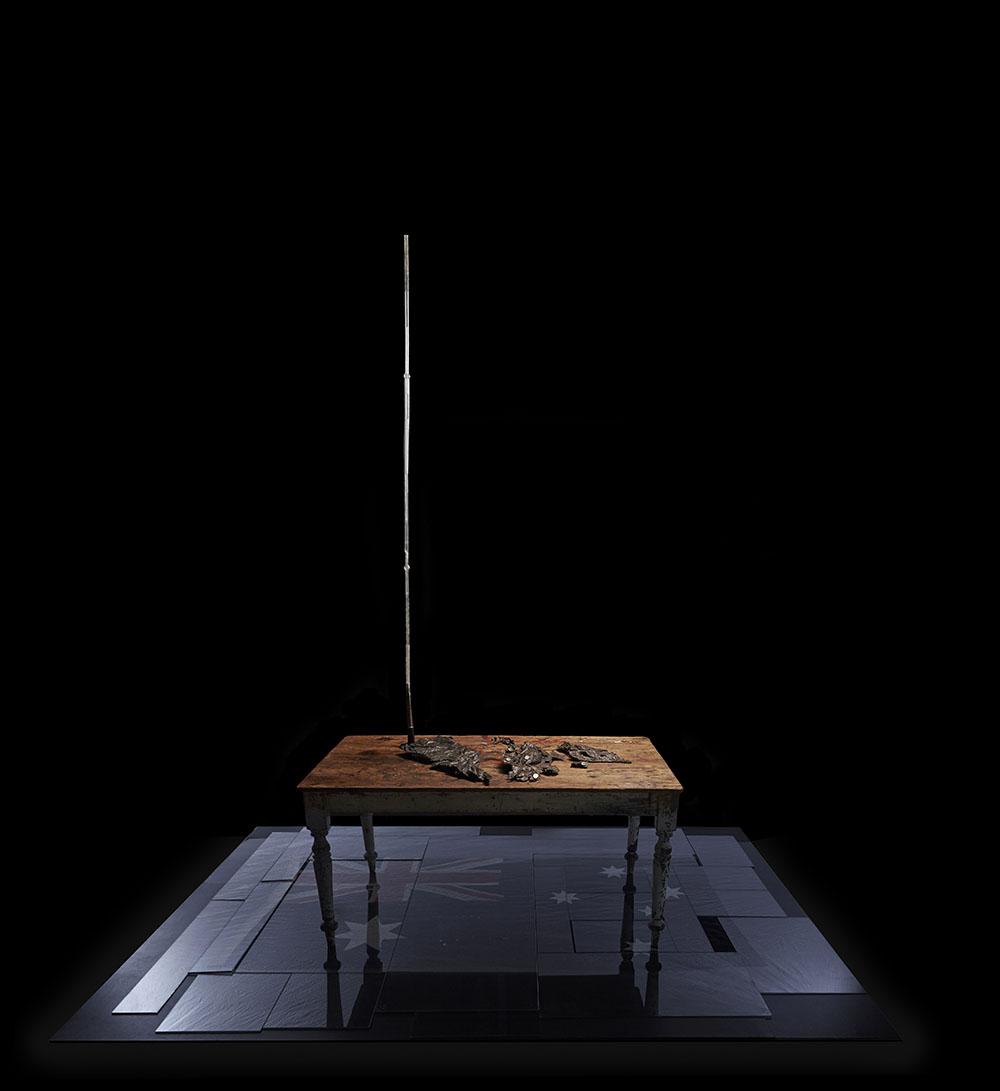 arbor temporis momentum – chartam - 2017bronze, early Australian colonial douglas fir (ballast) table, vintage Australian flag, vintage laboratory glass tubes, glass.Photography – Danny Wootton