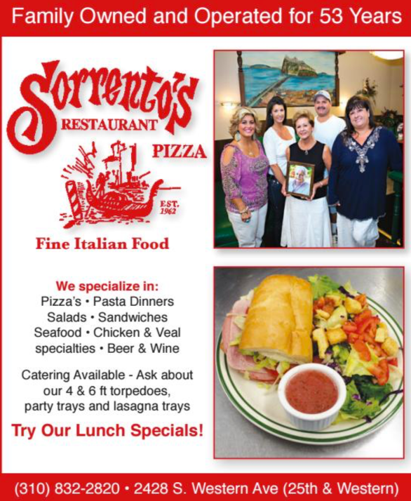 Our Story....   - Sorrento's Italian Restaurant was born over 50 years ago when our father, Vince Mattera went after his dream....  to bring great food to the beautiful town of San Pedro. We're proud to carry on his legacy and continue bringing the freshest authentic Italian recipes San Pedro has to offer.  Interested in Sorrento's catering your next big event?  Call us and ask about our catering menu!