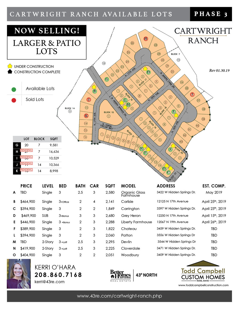 Traditional size, some with views and no back neighbors. Todd Campbell Custom Homes still lets you or your buyers PICK THEIR OWN SELECTIONS! CUSTOM builds as well!