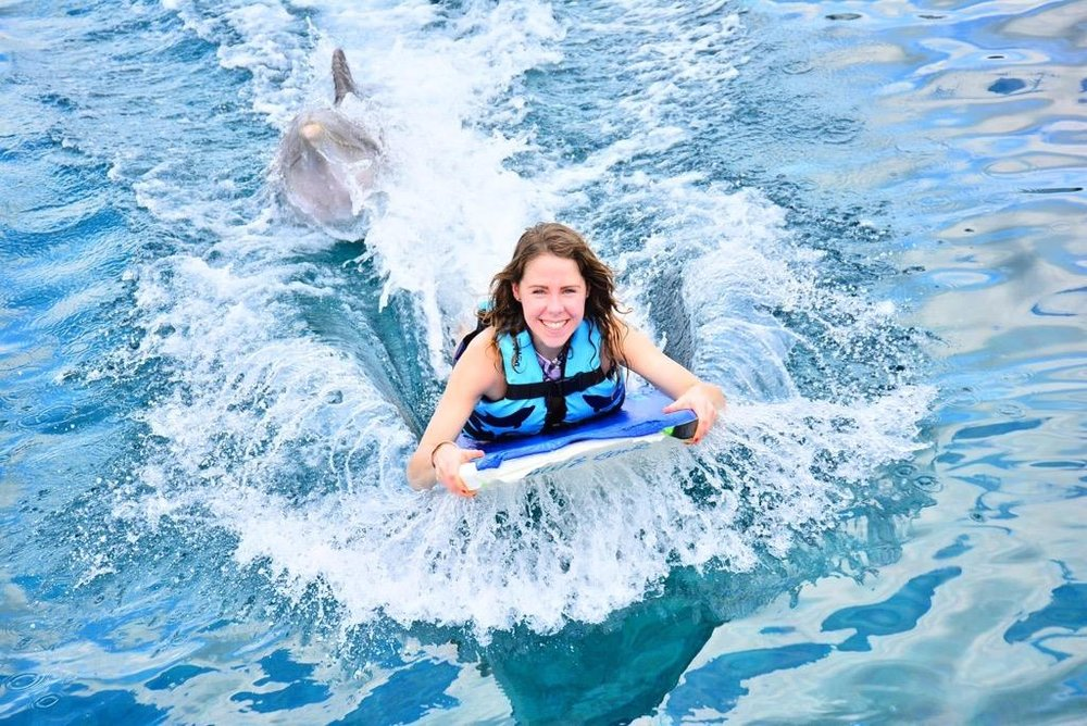 Casually body boarding with a dolphin
