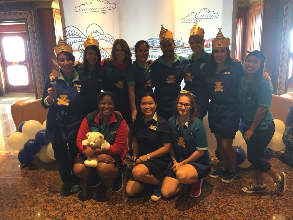 Build A Bear At Sea;  A weekly event hosted by the Camp Staff, an hour spent stuffing stitching and selling fluffy fury friends.