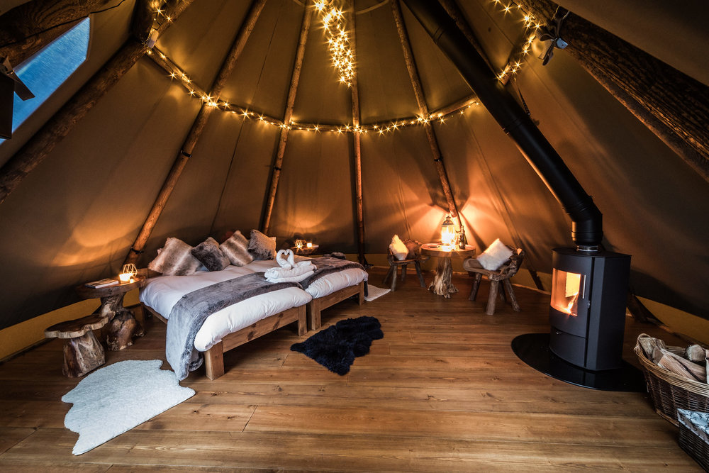 luxury Tipi camping accommodation in Derbyshire