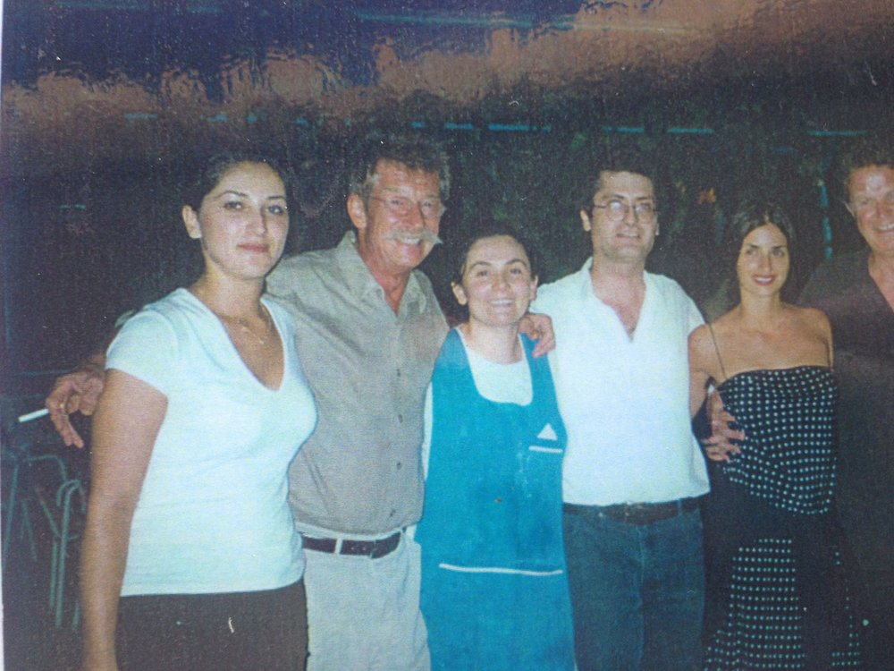 John Hurt and Penelope Cruz with Nikoleta and Nikitas Dendrinos (centre)