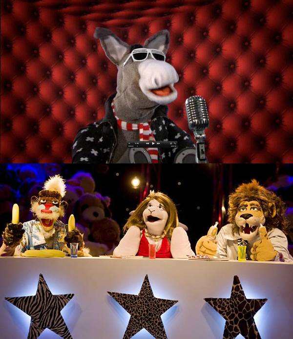 ZOO FACTOR - Sold to ABC Australia.Tap dancing elephants and snakes, bell-ringing pelicans, tightrope walking penguins, cheerleading leopards and a bush baby with stage fright are among some of the characters lining up each week to try and impress the panel of judges headed by Clive a vain lazy lion who quite literally eats acts for breakfast!Year 2011Duration 26 x 12 minutesCo-production Calon, Wales and Telegael for CBBC.Genre Childrens puppet series