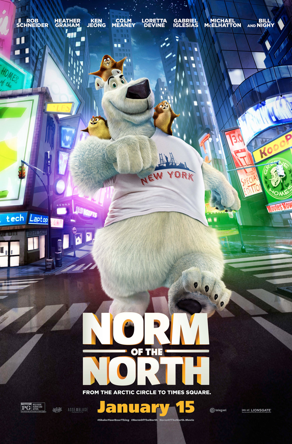 NORM OF THE NORTH - Telegael's dedicated team was responsible for production design, voice records of two main characters, music composition and picture and sound post production.A polar bear of many words, Norm's greatest gripe is simple: there is no room for tourists in the Arctic. But when a maniacal developer threatens to build luxury condos in his own backyard, Norm does what all normal polar bears would do … he heads to New York City to stop it. With a cast of ragtag lemmings at his side, Norm takes on the Big Apple, big business, and a big identity crisis to save the day.The film features the voices of Rob Schneider, Heather Graham, Ken Jeong, Gabriel Iglesias, Loretta Devine, Michael McElhatton, Colm Meaney and Bill Nighy.Year 2016Duration 95 minsProduction Partners Telegael, Splash Entertainment, Assemblage Entertainment, Lionsgate EntertainmentGenre CGI Animation
