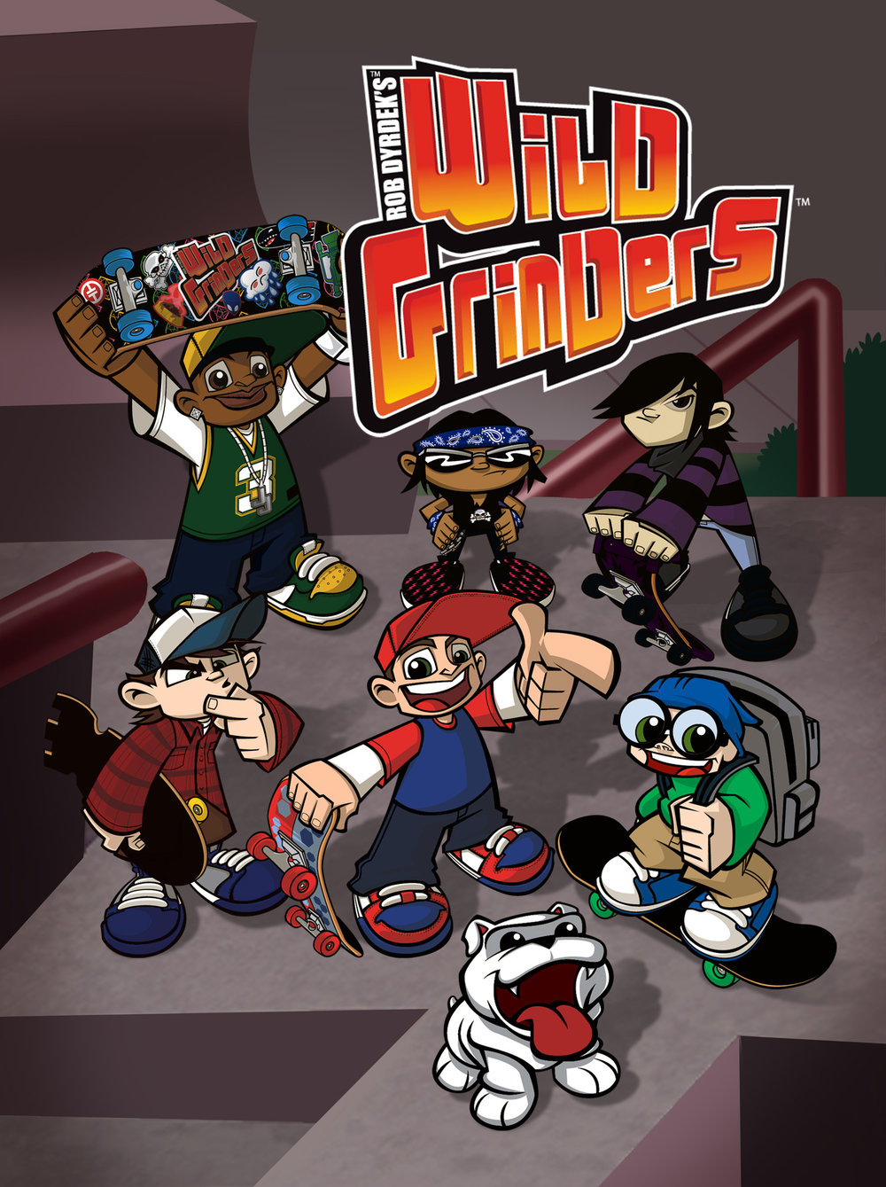 WILD GRINDERS - (Series 1)Year 2012Duration 52 X 11 minsProduction Partners Home Plate Entertainment, Telegael, Agogo Corporation, Copernicus StudiosGenre 2D Animation