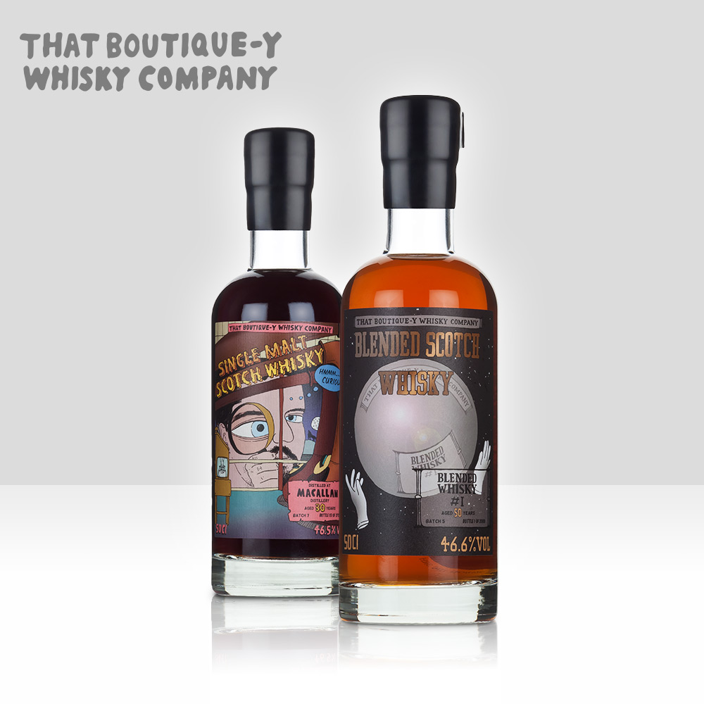 That Boutique-y Whisky Company   Established in 2012 as a disruptive independent whisky bottler and blender. The multi-award-winning range (including the World's Best Blended Whisky) has grown to encompass over 100 label styles and is sold globally in limited releases.   Find out more here...