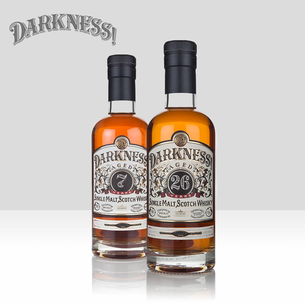 Darkness!   Launched in 2014, Darkness! is the beloved creator of MASSIVELY sherried whiskies finished for several months in specially-coopered 50 litre sherry casks. Unique, highly sought-after limited releases distributed around the world under heavy allocation.