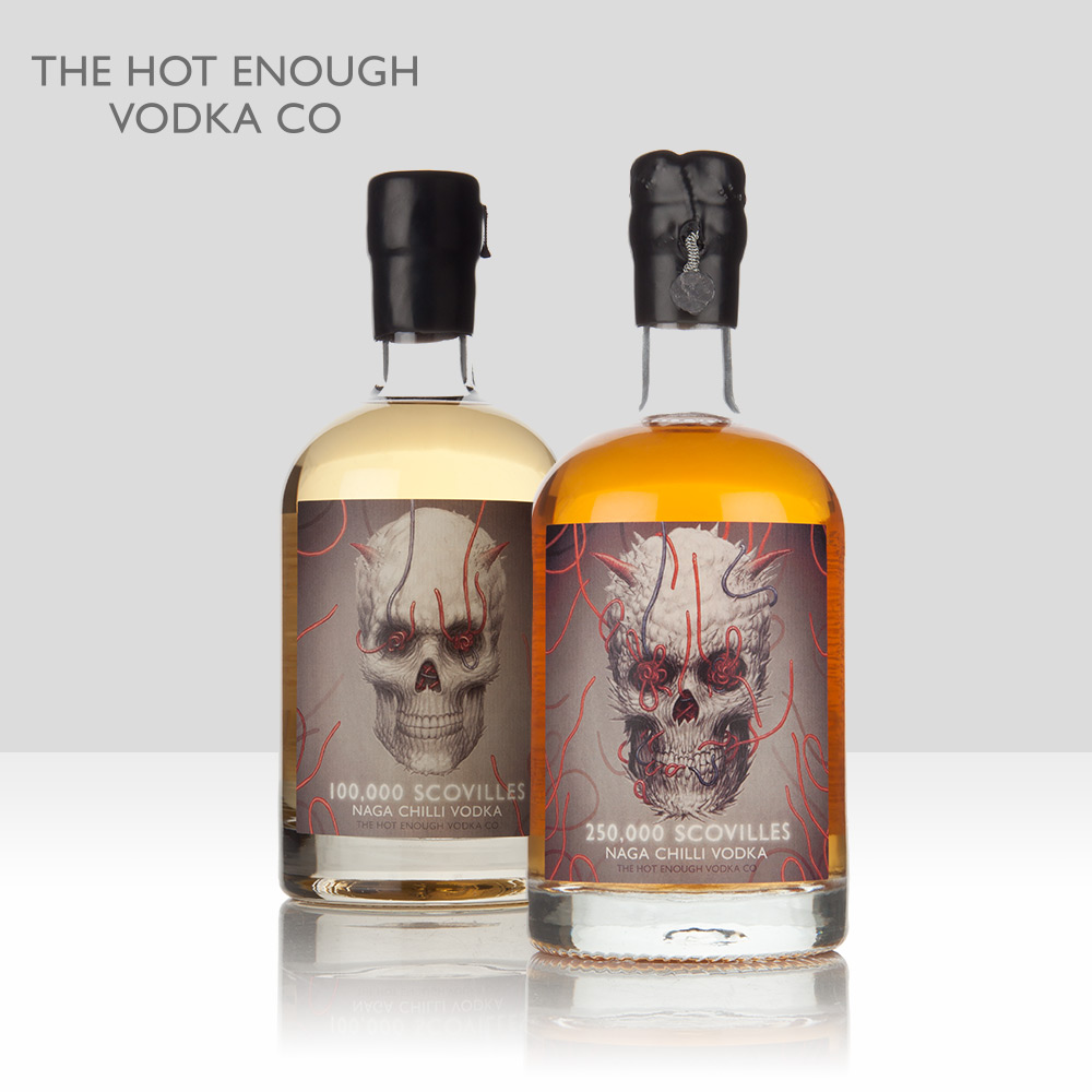"The ""Hot Enough"" Vodka Company   Creators of Naga Chilli vodka, available in 100,000, 250,000 and 500,000 scoville variants and beloved of chilli-heads everywhere.   Find out more here…"