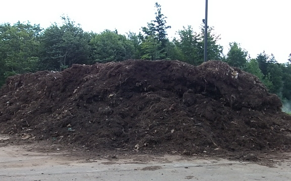 Leaf and yard waste received during spring and autumn cleanups and oversize tree waste are received on an asphalt pad and stored outside. These materials are periodically ground and gradually introduced in the compost process as amendment materials. -