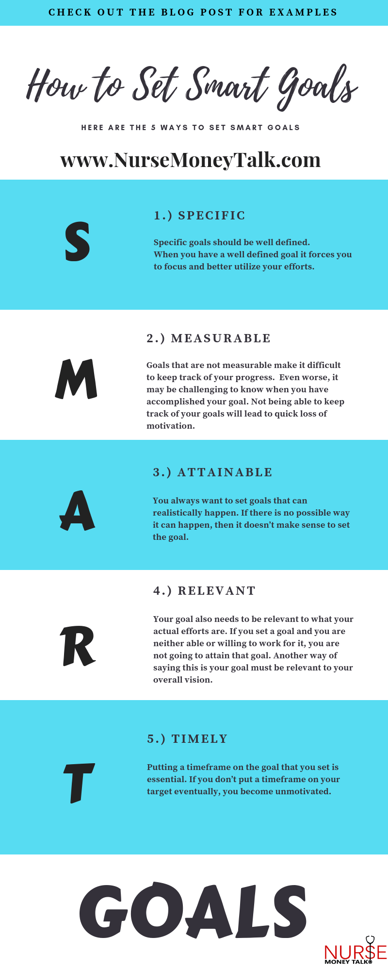 Infograph on How to Set Nursing SMART Goals
