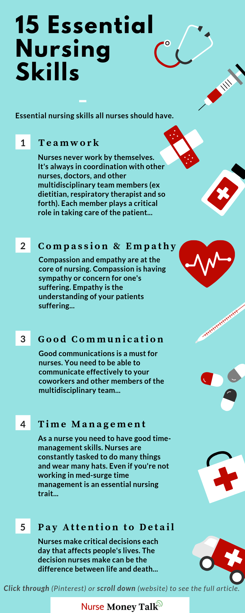 This article is teaches on the 15 essential nursing skills. Click through to see the rest… #newnurse #infographic #newgradnurse