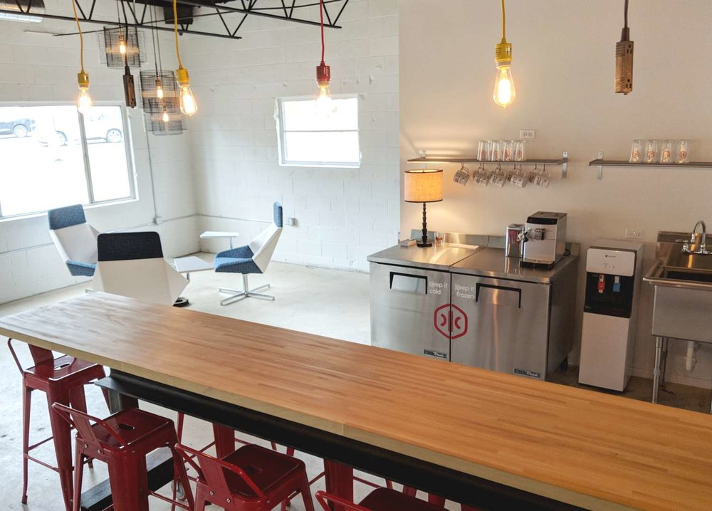 kitchenette & lounge - Warm up a lunch or bring in take-out; either way, feel at home in the lounge.We know the best local spots for food (or coffee, or doughnuts, or beer...), and we keep the best local roasts close at hand to fuel your creativity.