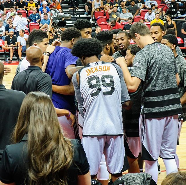 Josh Jackson huddling with his teammates at NBA Las Vegas Summer League 2017.  Notice how Devin Booker also joined the huddle.  The guy was itching to play!  #nba #nbasummerleague #joshjackson #devinbooker #phoenixsuns #lasvegas