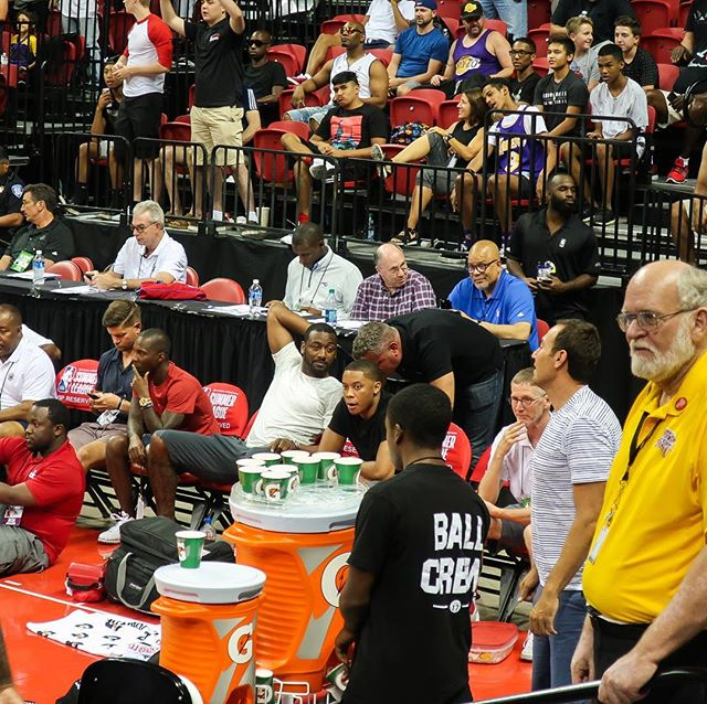 John Wall chillin' like a villain at NBA Las Vegas Summer League 2017.  At one point he and Bradley Beal moved to a seat almost directly in front of me.  Couldn't hear what they were saying but they seemed to be having a good conversation.  #nba #nbasummerleague #johnwall #washingtonwizards #lasvegas