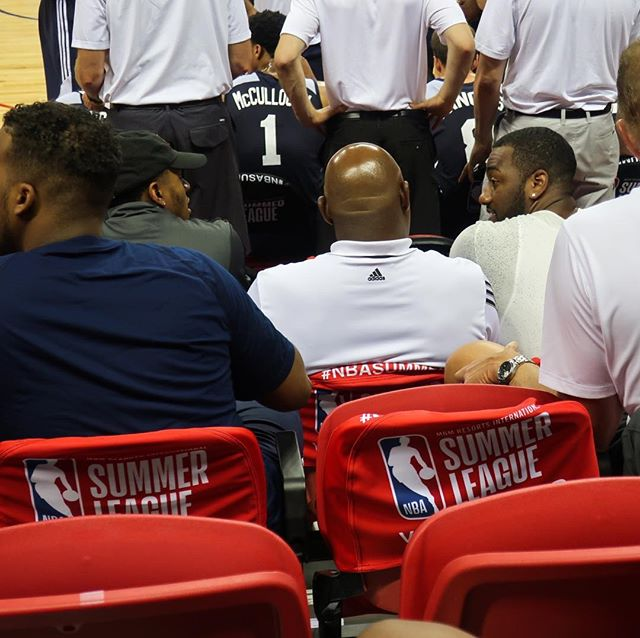 John Wall and Bradley Beal chatting while watching the Washington Wizards play the Miami Heat during NBA Las Vegas Summer League 2017.  I'm normally in the nose bleed seats so it was quite surreal to see them sitting right in front of me!  #nba #nbasummerleague #johnwall #bradleybeal #washingtonwizards #lasvegas